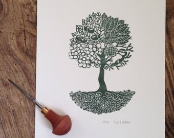Season tree, linocut in dark green, Limited Edition 10 copies, numbered and signed, season tree, linocut, darkgreen