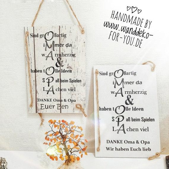 Oma Opa Holzschild Personalisiert Foto Enkel Geschenk Für Großeltern Schild Vintage Ostern Weihnachten Spruch