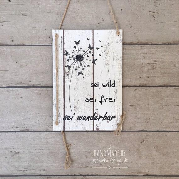 WANDTAFEL Schild SEI DU SELBST Vintage Shabby Holzschild Motivation