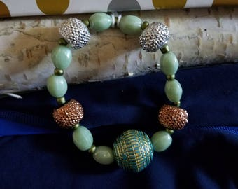 SALE!  Bracelet, Bead Jewelry, Original Design, Foam Green n Copper color, expandable Women's, Girls Bracelet, One of a kind, Spring Jewelry
