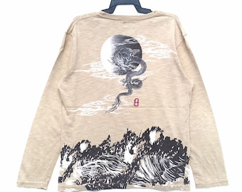 b42490b0d9e7ea Vintage 90s Sukajan Embroidered Dragon Full Print Long Sleeve T-shirt