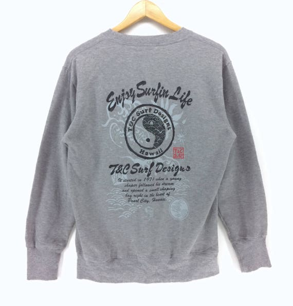 Vintage T/&C Surf Design Spell Out Big Logo  Surfing Hawaii Sweatshirt