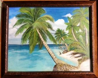 Painting of a beach with palm trees