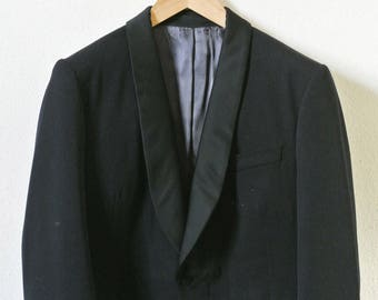 5eb96bd9 CEREMONY 2 PIECE SUIT / navy / wool / 1980's
