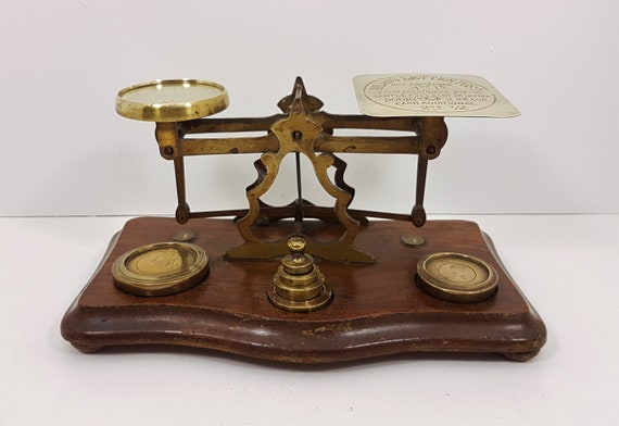 Antique British Postal Scale with 1897 Diamond Jubilee Penny Post Rates,  Victorian Postal Scales, Antique Postage Scale
