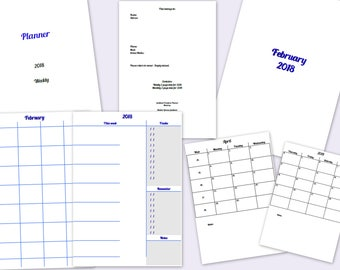 Printable Weekly Planner Agenda Diary Dated 2018