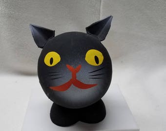 Vintage 1940s Halloween Black Cat Paper Mache Candy Container