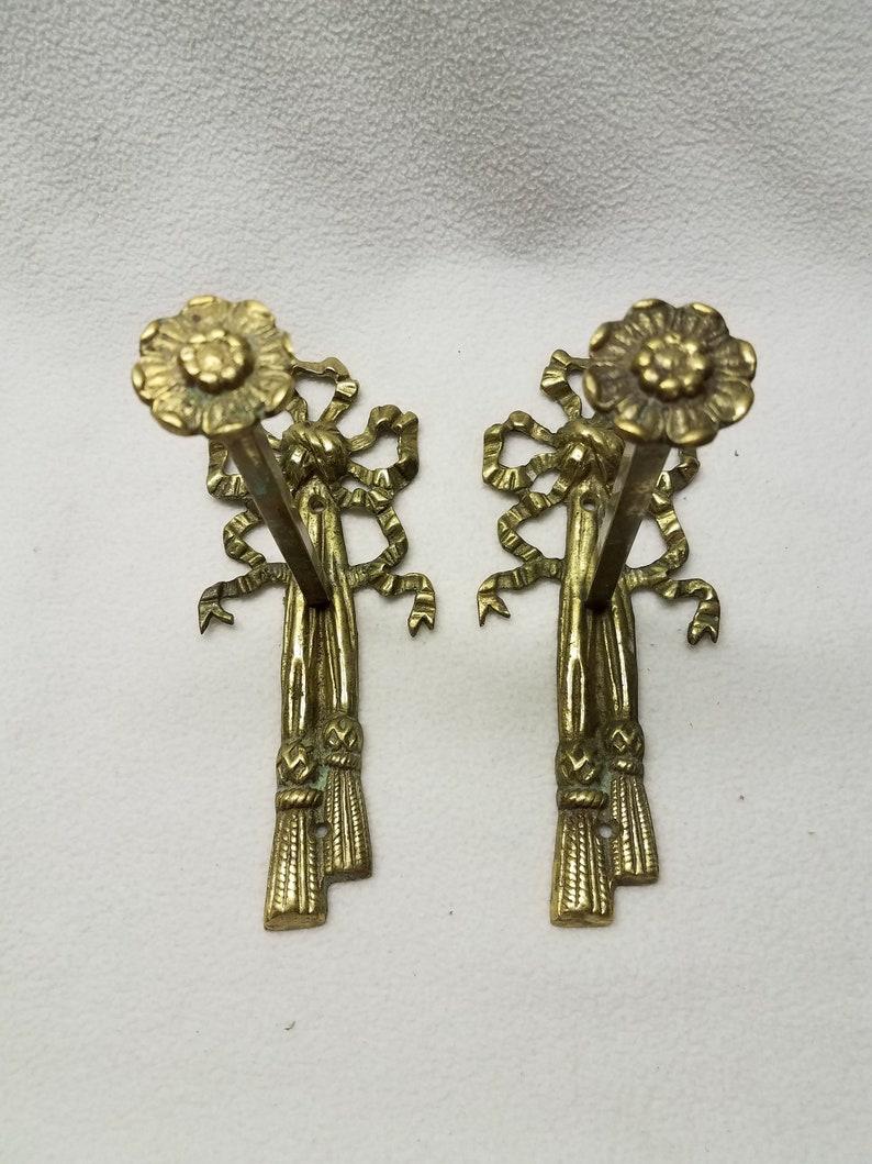 Pair Curtain PullsTie BacksHardware Vintage Victorian Soild Brass Marked Glo-Mar Art Works N.Y