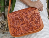 Brown leather bag, brown leather purse, brown shoulder bag, tooled leather purse, floral handbag, ladies purse, Mexican