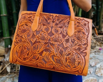 Tooled leather purse | Etsy
