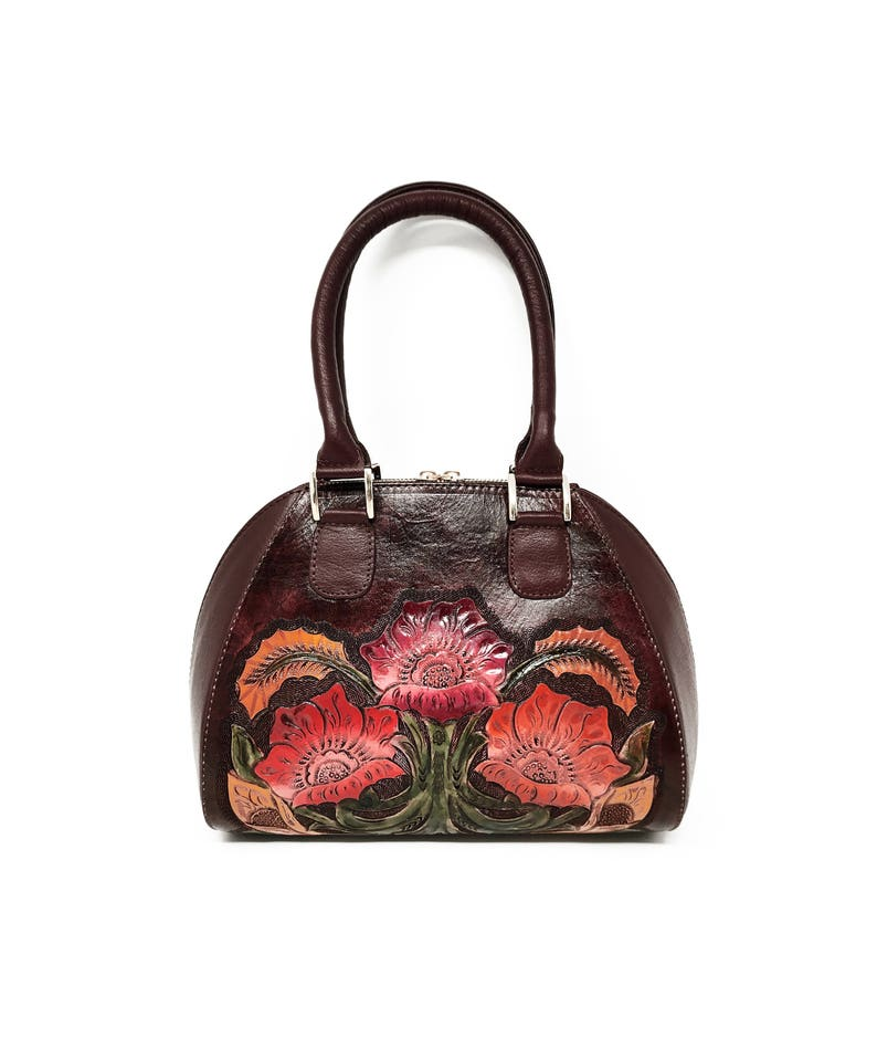 796d2b474f28 Burgundy leather handmade top handle crossbody, tooled leather, hand  painted, floral, carved, womens handbag, ladies purse