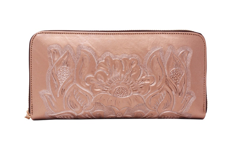4f1c6f28eb68 Rose Gold Leather Wallet handmade wallet hand painted wallet tooled  leather, floral, carved, clutch, womens wallet, ladies wallet, ziparound