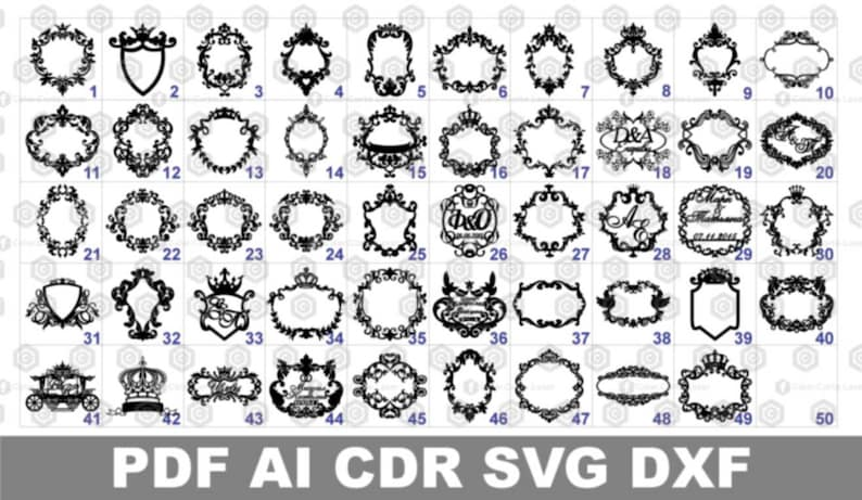Laser Cut Vector FILE Cdr Dxf Eps for Laser Cut or Cnc Router MIRROR FRAMES  pieces files archivos Clipart download