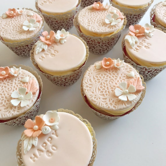 Elegant Lace Birthday Cupcake Toppers FONDANT EDIBLE