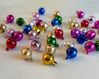 Set of 30 multicolored bells - 8mm - Metal