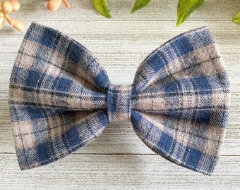 Plaid Dog Bow Tie - Classic Plaid Bow Tie - Dad Plaid - Tan and Blue Bow Tie - Cat Bow Tie