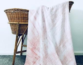 Organic Natural Dye Swaddle Blanket Wrap - Pink Stripe
