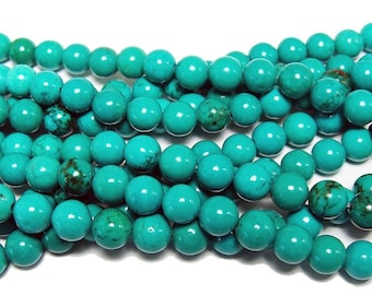 S Chinese Turquoise 3mm Smooth Round 16 inches long strand Small size bead