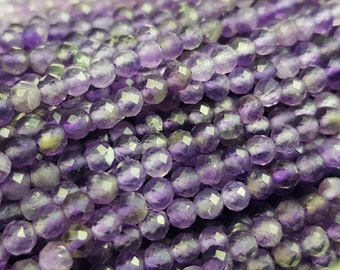 5 Strands Natural African Amethyst Round ball Faceted Gemstone Beads 13 Inch Strand 3mm