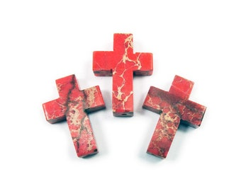 Cross Pendant Red Lightning Jasper Fancy Cut Cabochon in Sterling Silver Without Chain TGW 5.00 Cts.
