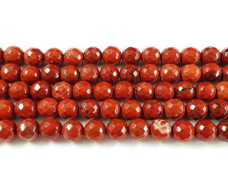 Natural 6mm 15 inches Red jasper faceted round beads Genuine Gemstone