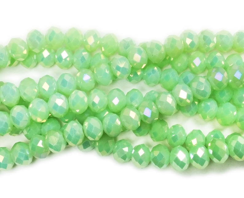 6x8mm 72 Beads 17.5 Sparkling Green Glass Faceted Rondelle Beads With Ab Finish man-made synthetic beads wholesale
