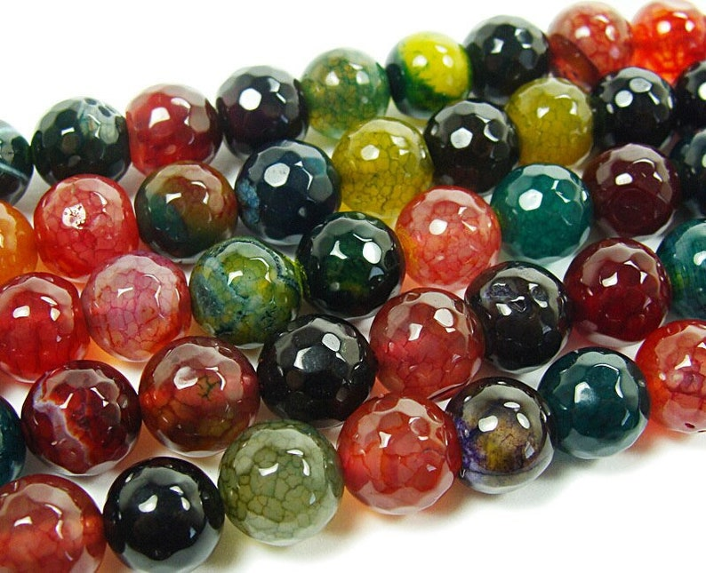 brown and green multi faceted agate beads Genuine Gemstone Natural 10mm Dark red