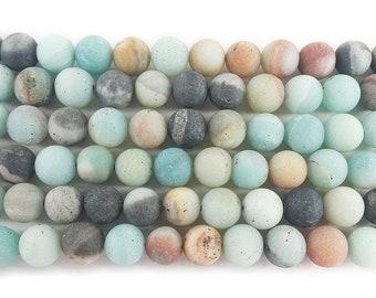 Natural 6mm Amazonite Matte Round Beads Genuine Gemstone