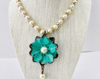Beaded Turquoise Flower Pendant Necklace
