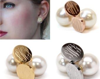 Monogrammed Stainless Steel Pearl Back Earrings