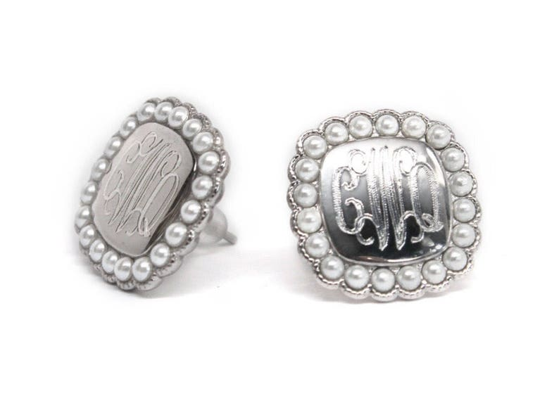 1a7c88e90 Sterling Silver Monogram Pearl Square Stud Earrings   Etsy