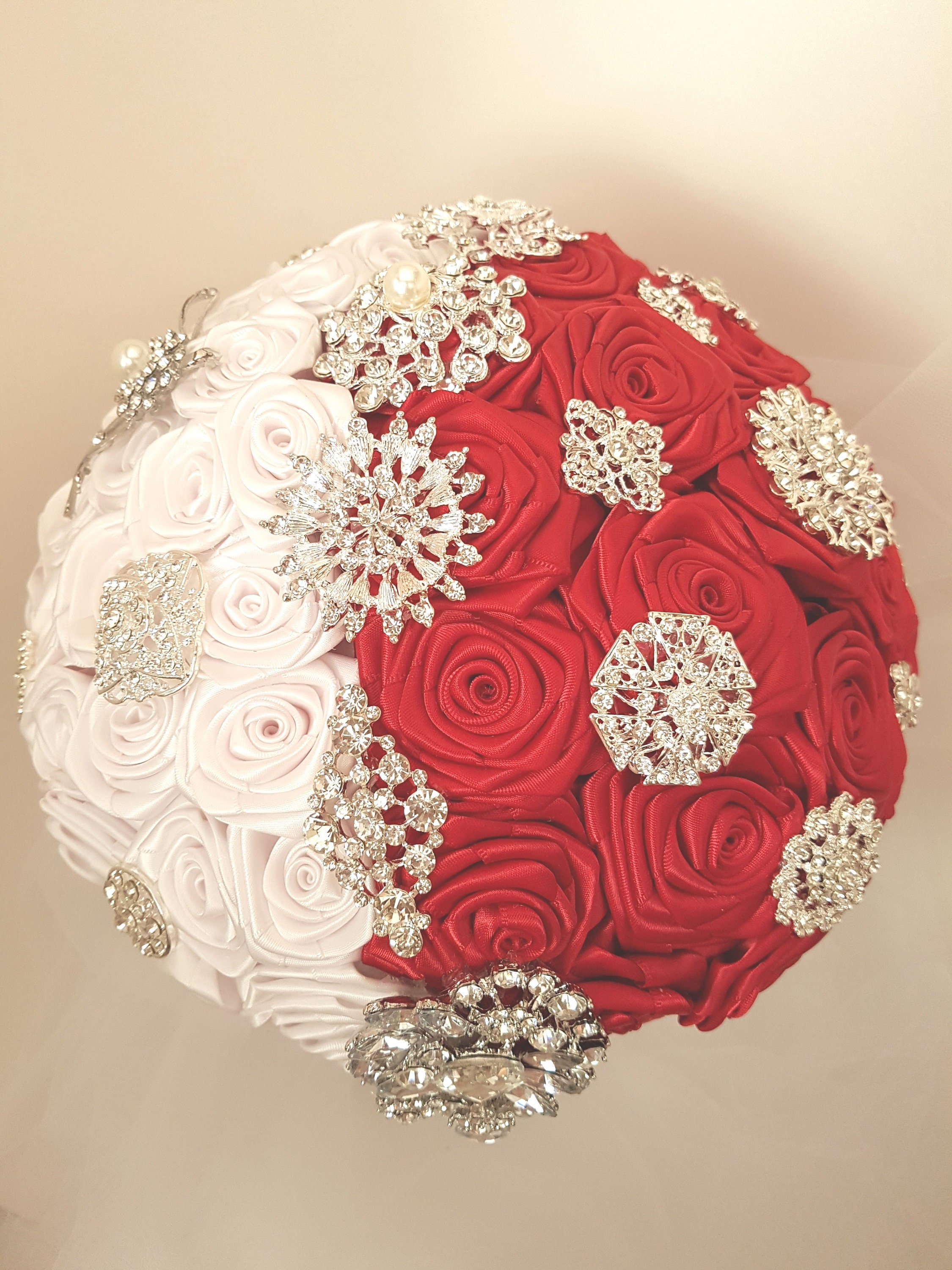 Bridal brooch bouquet satin ribbon flowers fabric flowers etsy zoom izmirmasajfo