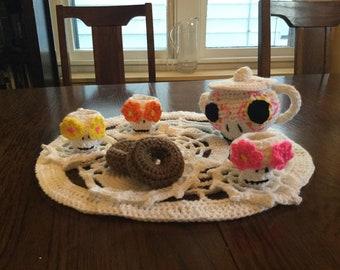 Calavera crochet tea set