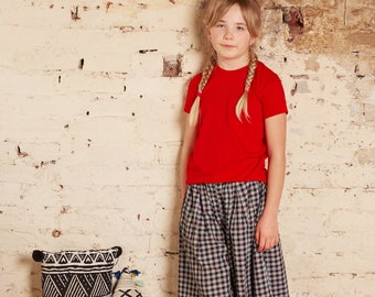 Vintage Children's French 80s 90s Jacadi Designer Checked Preppy Unisex Black Red Yellow Blue Culottes Shorts 8-10 Y