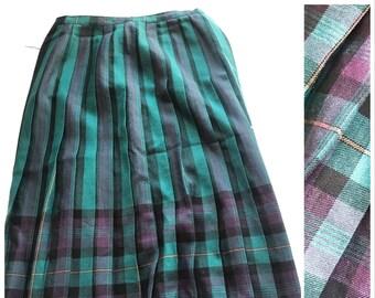 Vintage Women's 80s 90s Wool Purple Green Tartan Plaid Checked Traditional Christmas Festive Xmas Kitsch Grunge Midi Skirt Kilt 12 Medium