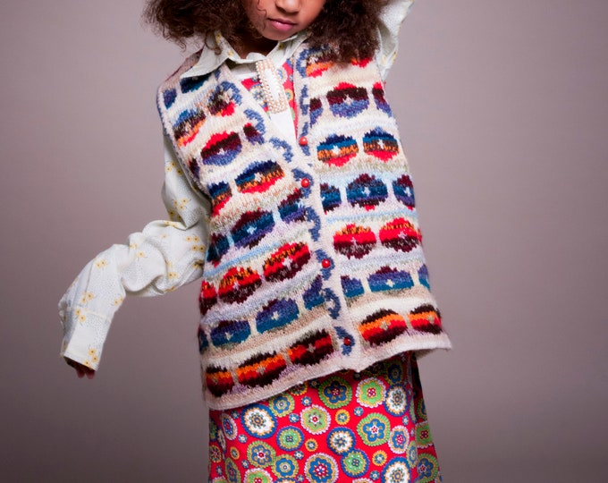Vintage Kids Child French 60s 70s Mod Mid Century Red Abstract Paisley Dress 6-8 Y