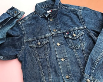 Vintage Kids Tommy Hilfiger Blue Denim Jacket 7-8 Y, americana, grunge, retro kids, 90s, y2k