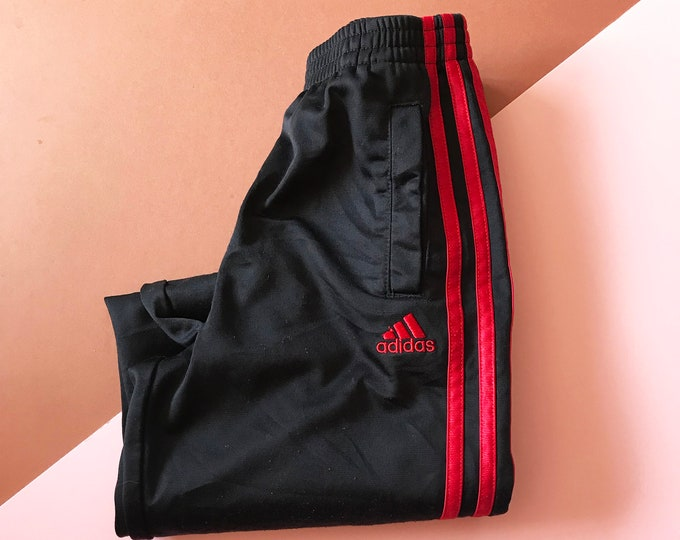Retro Kids 90s Style Adidas Black Red Three Stripe Tracksuit Bottoms 6-7 Y, sportswear, retro, britpop