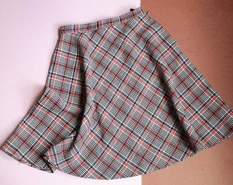 Vintage Kids Tartan Check Skirt 4-6 Y / plaid check / festive unisex / children's retro vintage / prop tv film