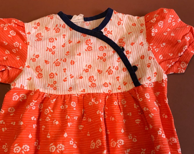 Vintage Kids Children's Boho French Floral Orange White Ditsy Maxi Dress 3-5 Y