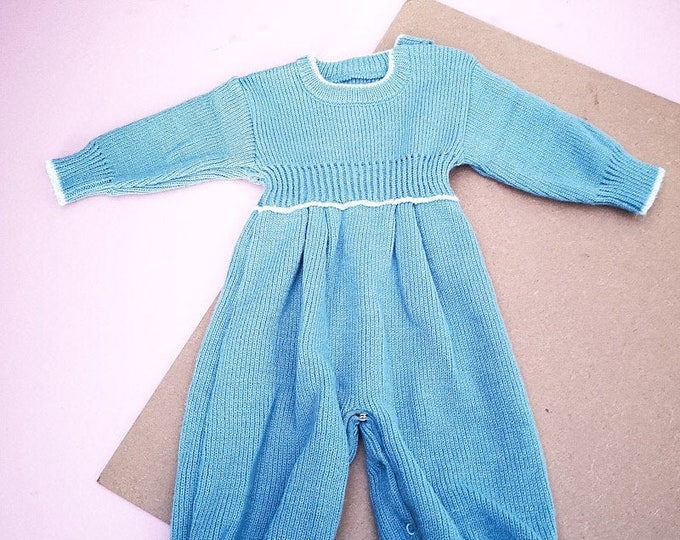 Vintage Baby Kids French Blue Unisex Knitted Romper All In One 0-6 M