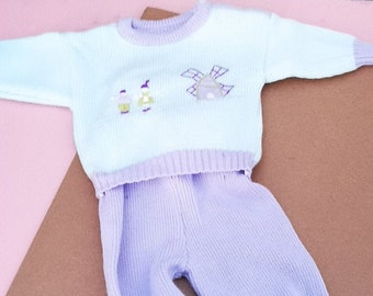 Vintage Baby Kids French 80s Pastel Unisex Knitted Tracksuit 9-12 M