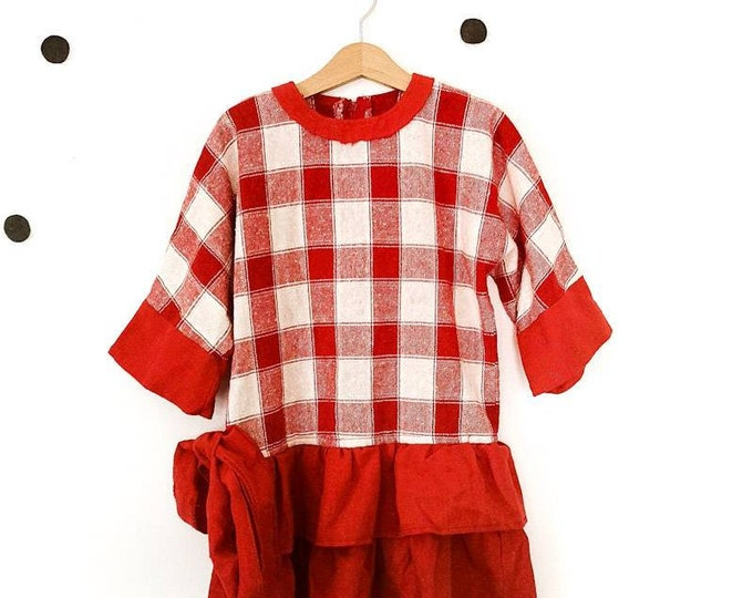 Vintage Kids Children's 70s 80s French Red Dress 6-8 Years