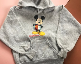 Retro Kids Walt Disney World Grey Marl Mickey Mouse Novelty Memorabilia Sweatshirt Hoodie 4-6 Y, disneyana,