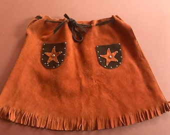 Vintage Suede Rodeo Novelty Skirt Calamity Jane Fancy Dress Costume 6-8 Y