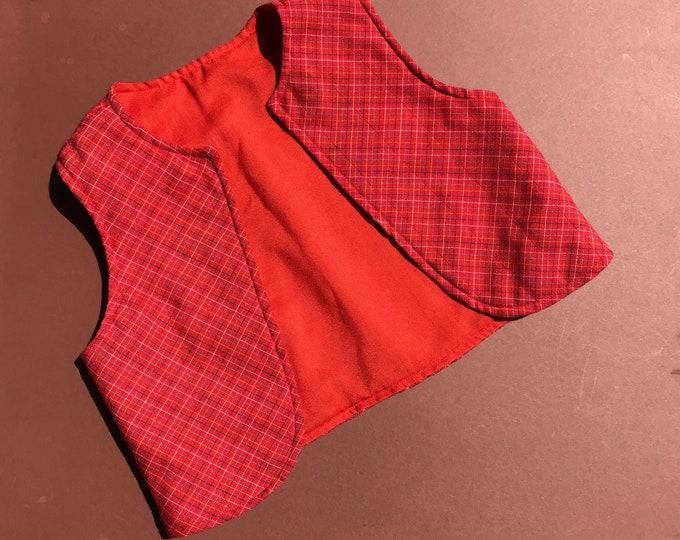 70s Unworn Vintage Kids Hippy Boho Peasant Red Western Waistcoat Gilet Jacket 2- 4 Y