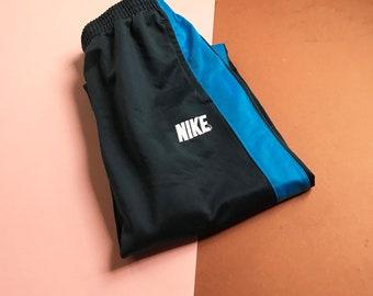 Retro Kids 90s Style Nike Navy Blue Stripe Tracksuit Bottoms 4-6 Y, sportswear, retro, britpop
