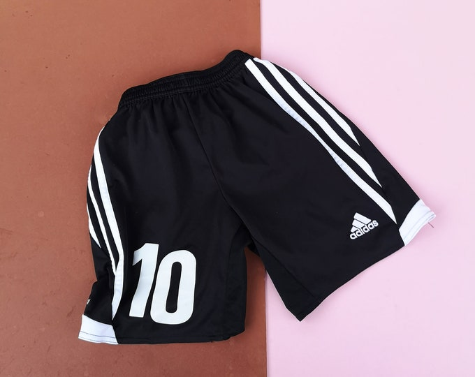 Retro Kids Adidas Black White Climacool Stripe Sports Shorts 7-9 Y, sportwear, retro kids, britpop, football