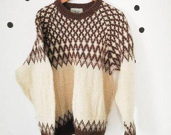 Icelandic Aran Norwegian Knit Blarney Woollen Mills Jumper Chunky Unisex XL