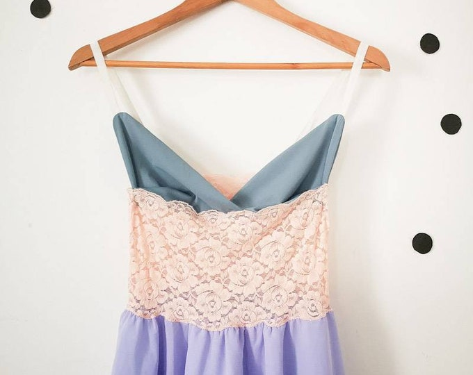 Vintage Women's 90s Pastel Lilac Pink Blue Slip Babydoll Dress Size 6/8 UK Small